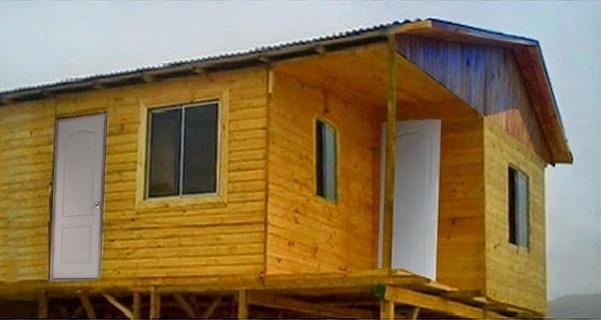 Fachada referencial de este plano de casa de 54m2.