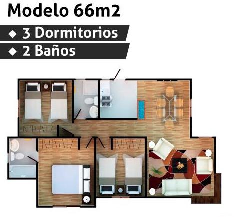 Plano De Casa De 66 M2 Con 3 Dormitorios En Madera