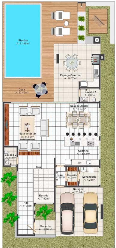 Moderno y c modo plano de casa grande for Casa moderna 7x15