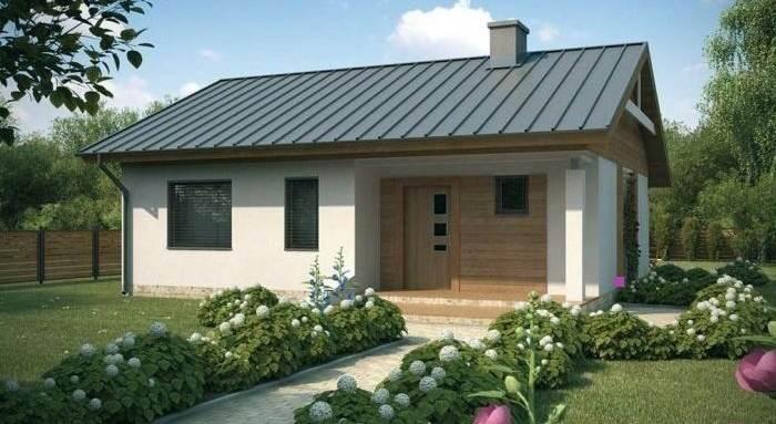 Plano de casa prefabricada de 77 3 m2 con 2 dormitorios Modelos de frentes de casas con techo de chapa