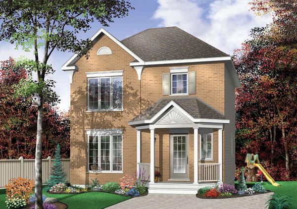 Plano de casa de 108m2 con 3 dormitorios y 2 niveles for Fachada tradicional