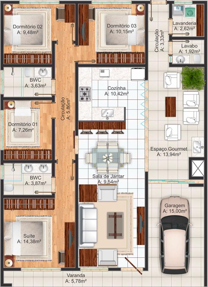 Medidas Baño En Suite:Plano de casa mediterránea de más de 100m2 y 4 dormitorios