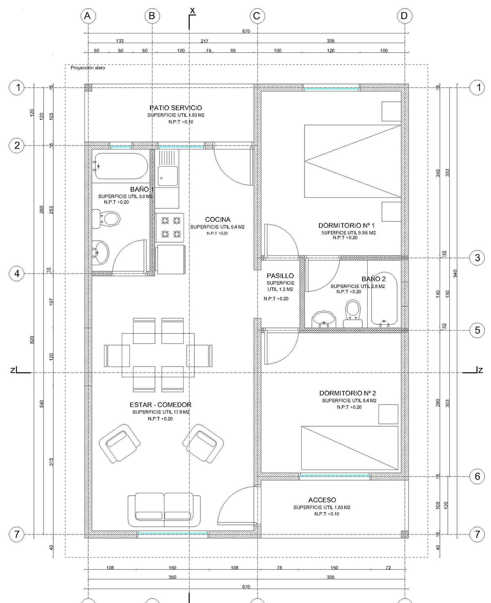 Planos de casa de 55 m2 de 1 piso y 2 dormitorios con medidas for Plano casa un piso