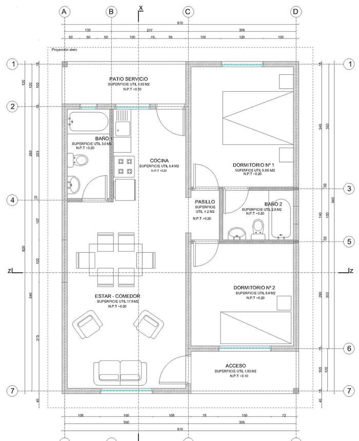Planos de casa de 55 m2 de 1 piso y 2 dormitorios con medidas for Casa minimalista 300m2