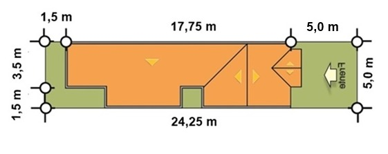 distribucion terreno plano de casa para stio angosto