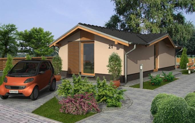 Plano de casa moderna y eficiente de 48 m2 con 1 dormitorio for Casa moderna de 50 m2