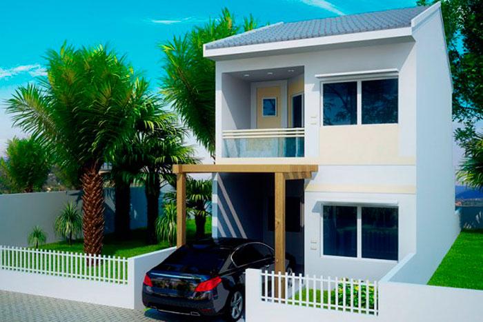 Plano de casa de 106 m2 con 2 pisos y 3 dormitorios for Fachadas de dos pisos