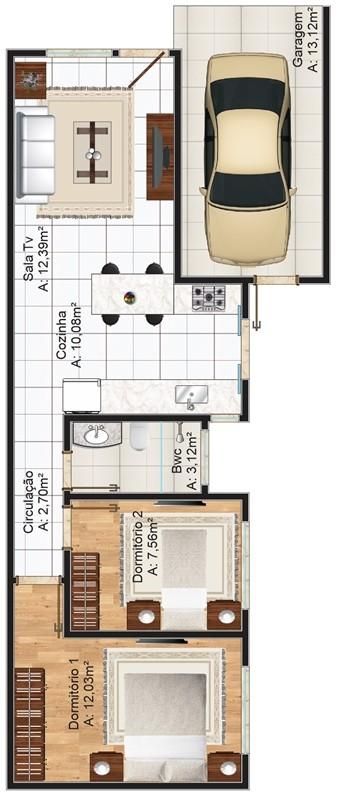 Plano de casa 69m2 y 2 dormitorios terreno de 6x25 metros for Plano departamento 2 dormitorios