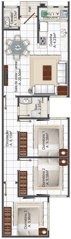 plano de casa para sitio angosto de 3 dormitorios 1 bano