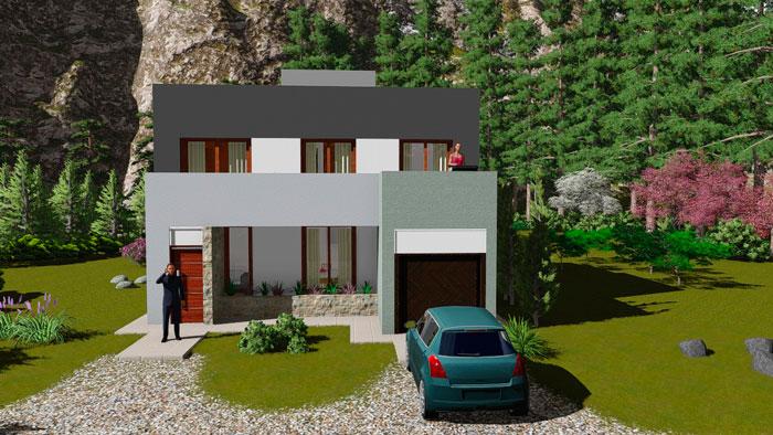 Plano de casa moderna de 140 m2 con 3 dormitorios for Casa moderna 3 habitaciones