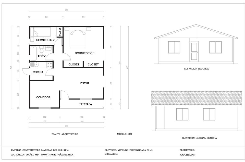Plano de casa con medidas de 58m2 con 2 dormitorios y 1 ba o for Planos de cocina en linea