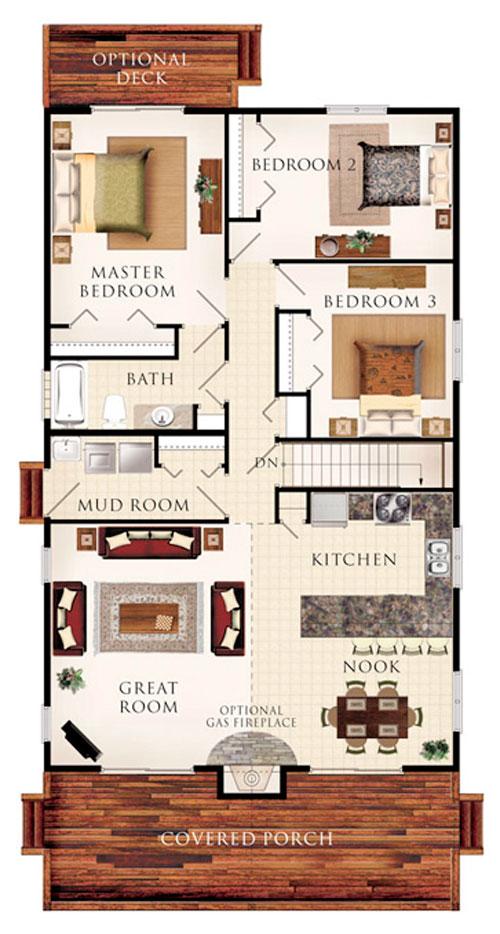 Baño Para Dormitorio:Plano de cabaña de 133,8 m2 con 3 dormitorios y 1 baño