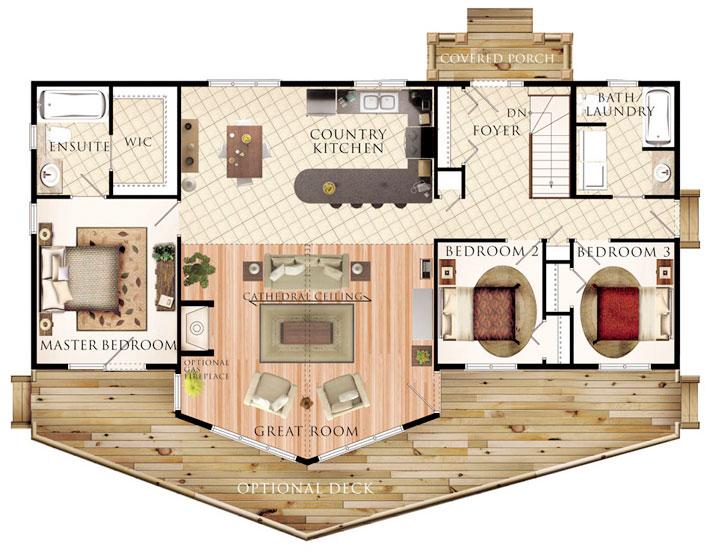 Hermoso plano de casa de campo de 132 7m2 y 3 dormitorios for Planos de casas de campo gratis