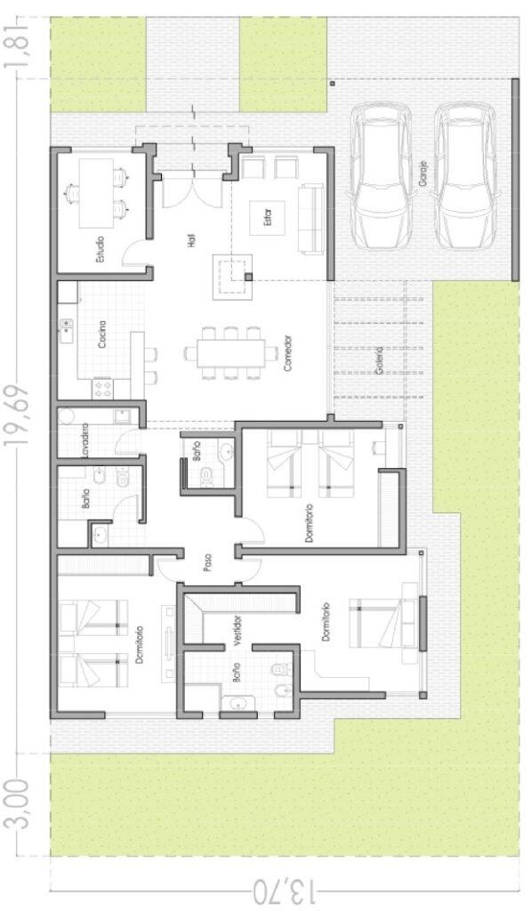 planos de casas modernas 150m2