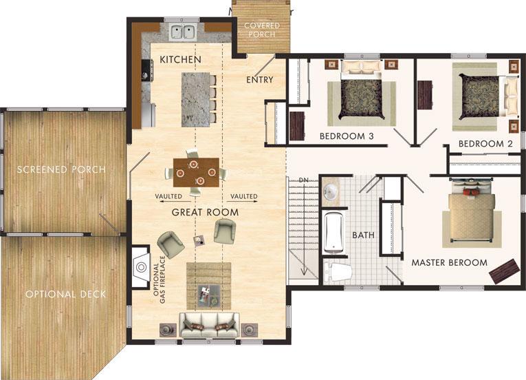 planos de casa de campo de 120 m2 con 3 dormitorios ForPlanos De Casas De Campo De 3 Dormitorios