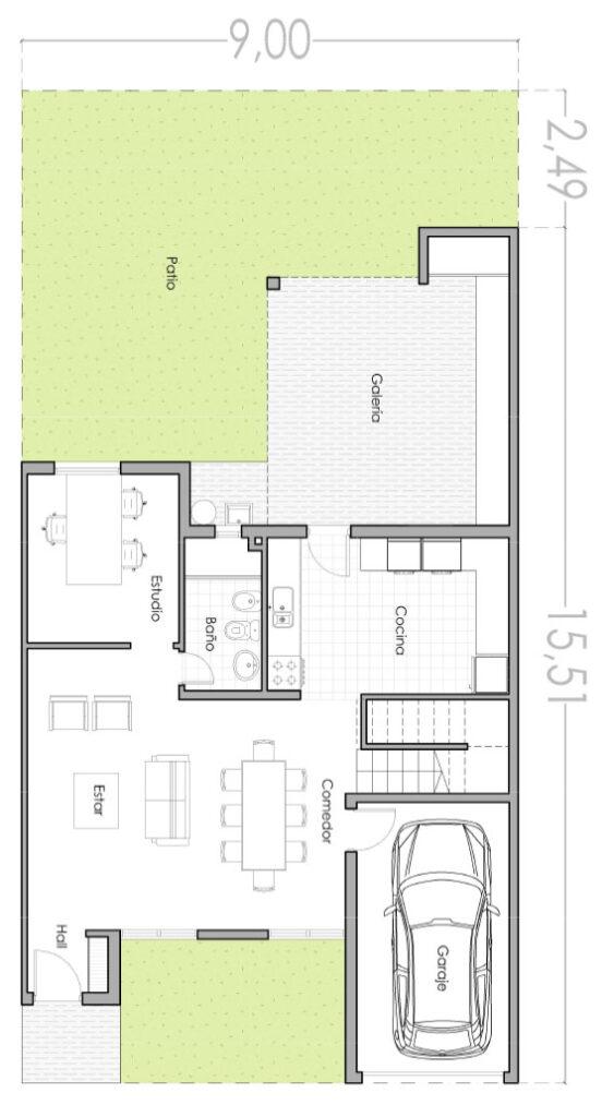 Plano De Casa Moderna De 140 M2 Con 3 Dormitorios