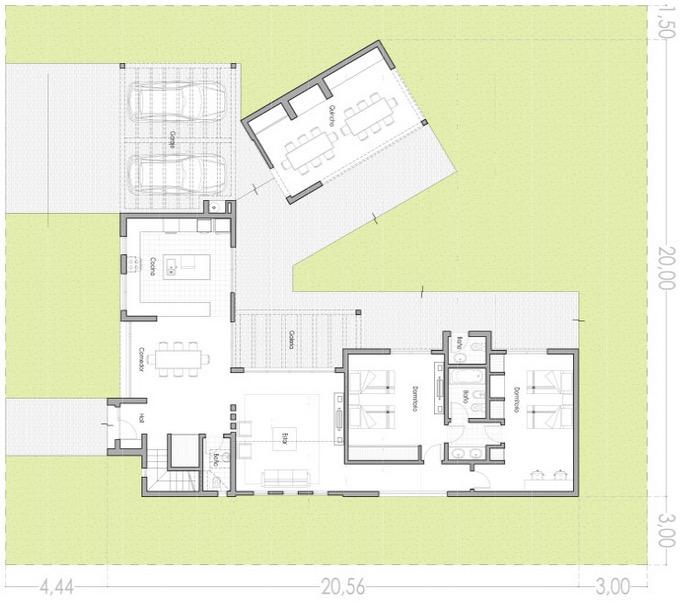 Plano de casa de 168 4 m2 de 3 dormitorios y 3 ba os for Pisos 2 habitaciones pamplona