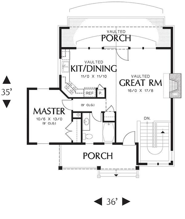plano primer piso de cabana confortable