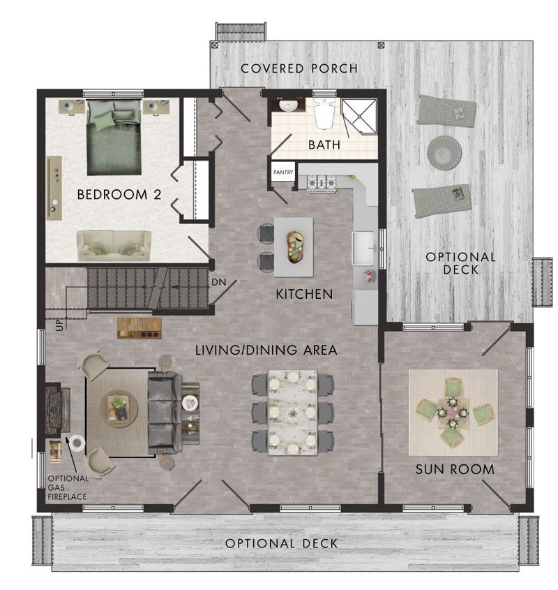 Plano de casa de campo con 167 5m2 y 2 pisos for Planos de casas de campo