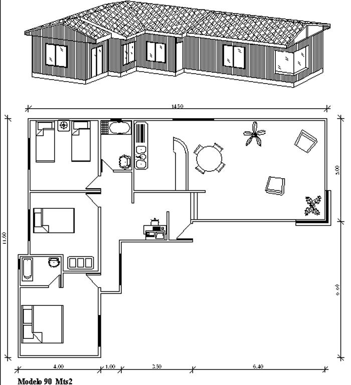 Plano de casa de 90 m2 en forma de l con 3 dormitorios for Plano de casa quinta moderna