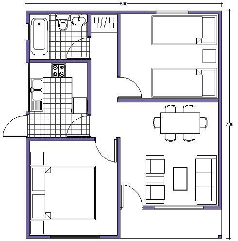 7 planos de casas prefabricadas econ micas y con medidas for Cocina medidas minimas