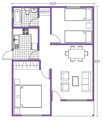 7 planos de casas prefabricadas econ micas y con medidas for Casa moderna de 7 x 15
