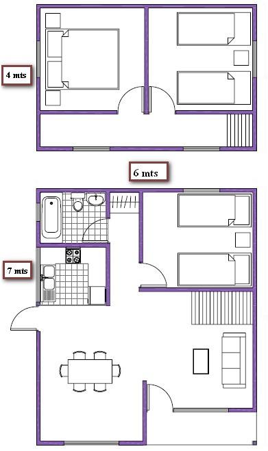 7 planos de casas prefabricadas econ micas y con medidas for Diseno de casa de 5 x 10
