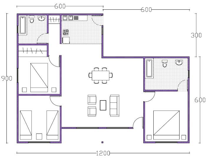 7 planos de casas prefabricadas econ micas y con medidas - Dibujar planos de casas ...
