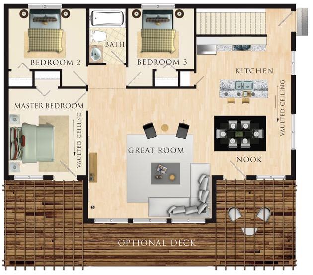 Plano de casa de 99m2 y 3 dormitorios grandes Planos de casas de 3 dormitorios