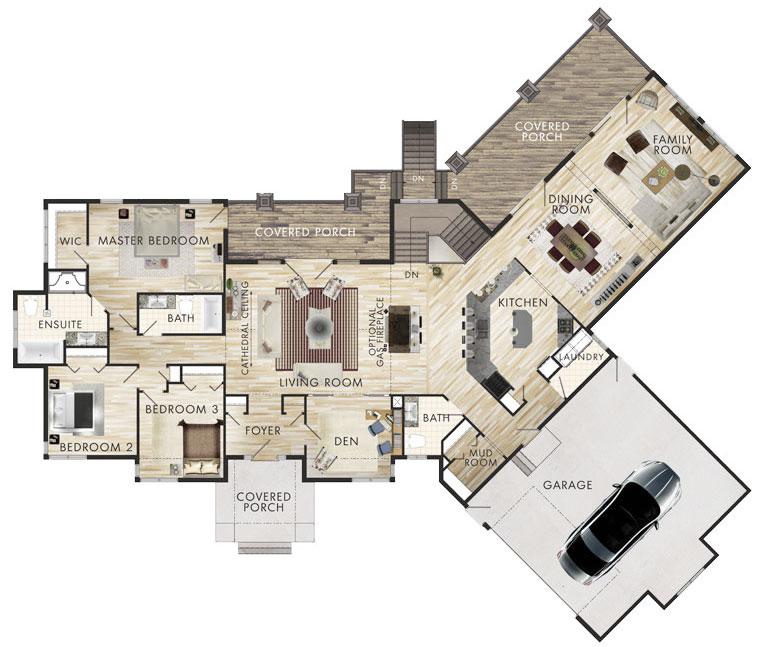 Plano de casa grande de 257m2 con 3 dormitorios for Planos de casas de campo de 3 dormitorios