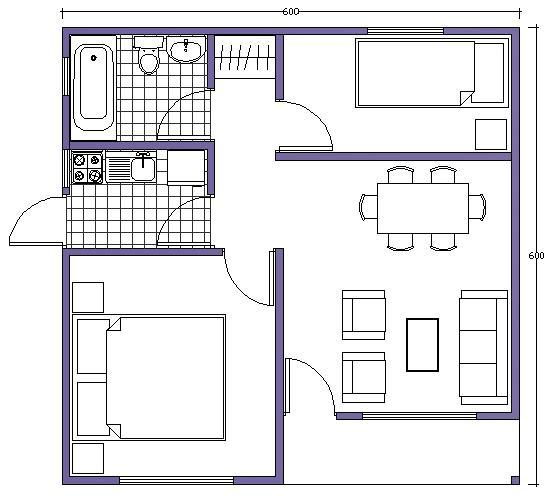 Plano de casa b sico con medidas de 36m2 y 2 dormitorios for Plano de pieza cocina y bano