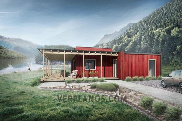 Plano de casa container de 114m2 muy flexible y confortable for Plano casa campo