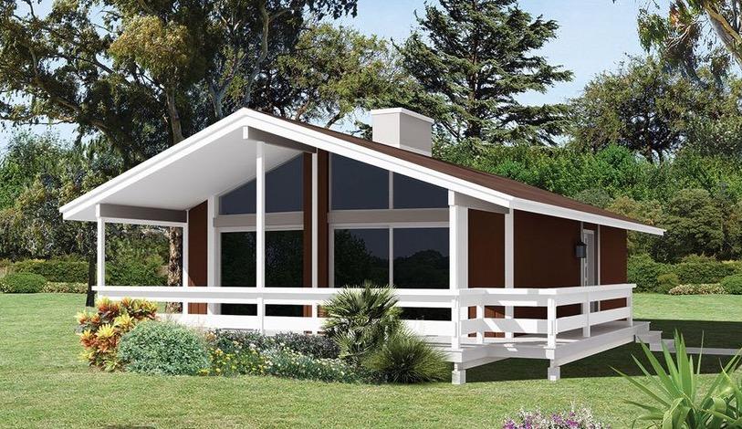 fachada de plano de cabaña completa y comoda