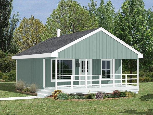 Plano de casa cl sica de 53 5m2 y 2 dormitorios for Fachada casa clasica