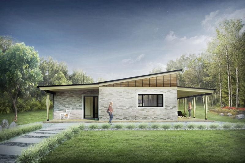 plano de casa moderno y minimalista de 80m2 con 2 dormitorios