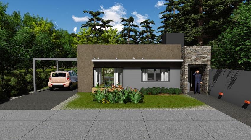 Plano de casa moderna de 102 4m2 con 2 dormitorios for Planos de viviendas modernas
