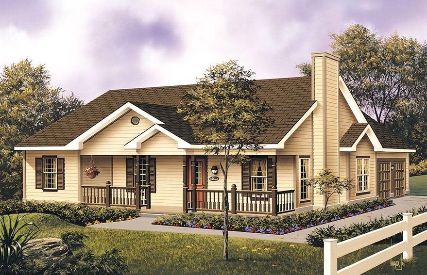 Plano de casa acogedora con 3 dormitorios de 139 m2 for Planos de casas de campo de 3 dormitorios