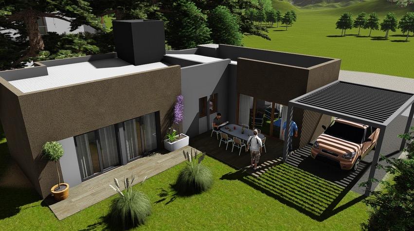 Plano de casa moderna de 102 4m2 con 2 dormitorios for Casas modernas planos y fachadas