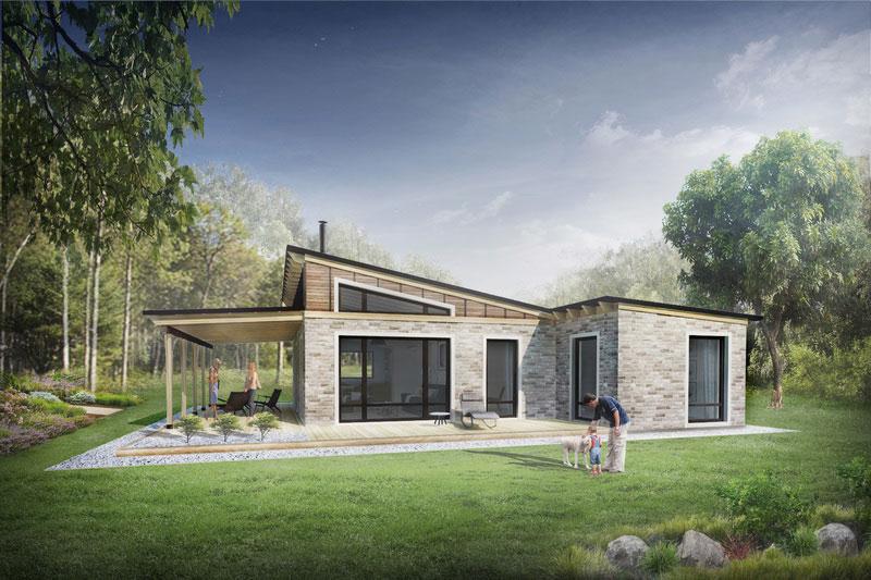 Plano de casa moderno y minimalista de 80m2 con 2 dormitorios for Diseno chalet una planta