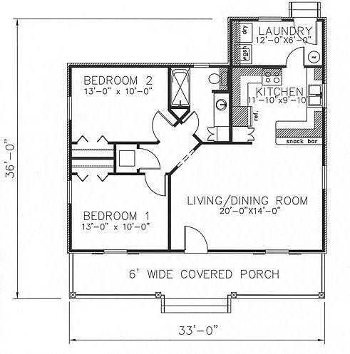 plano de casa acogedora simple de 2 dormitorios