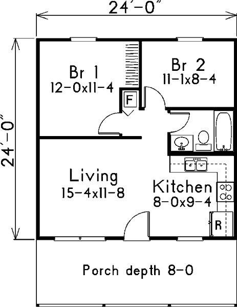 Plano de casa cl sica de 53 5m2 y 2 dormitorios for Casa clasica procrear 1 dormitorio