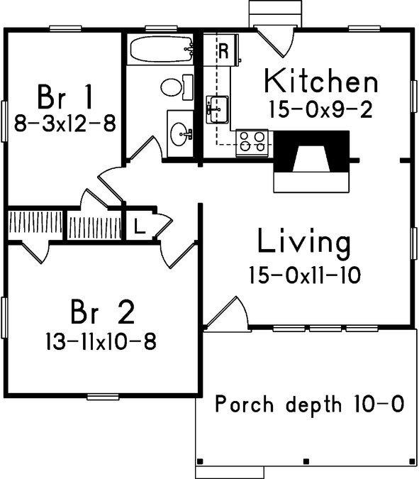 plano de casa de 2 dormitorios