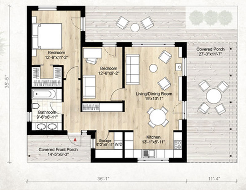 Plano De Casa Moderno 80m2 2 Dormitorios on 850 Square Feet House Plans