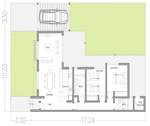 Plano casa minimalista 2 dormitorios idea de la imagen for Planos de viviendas modernas
