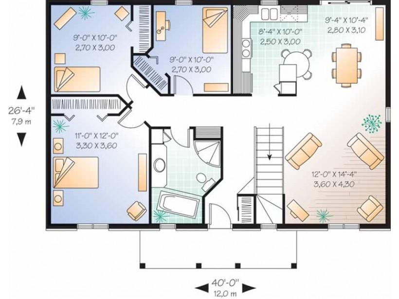 Plano de vivienda cl sica con 97 8 m2 y 3 dormitorios for Casa procrear clasica techo inclinado 3 dormitorios