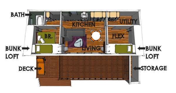 planta plano de casa simple en color