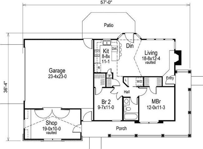 plano de casa con garaje