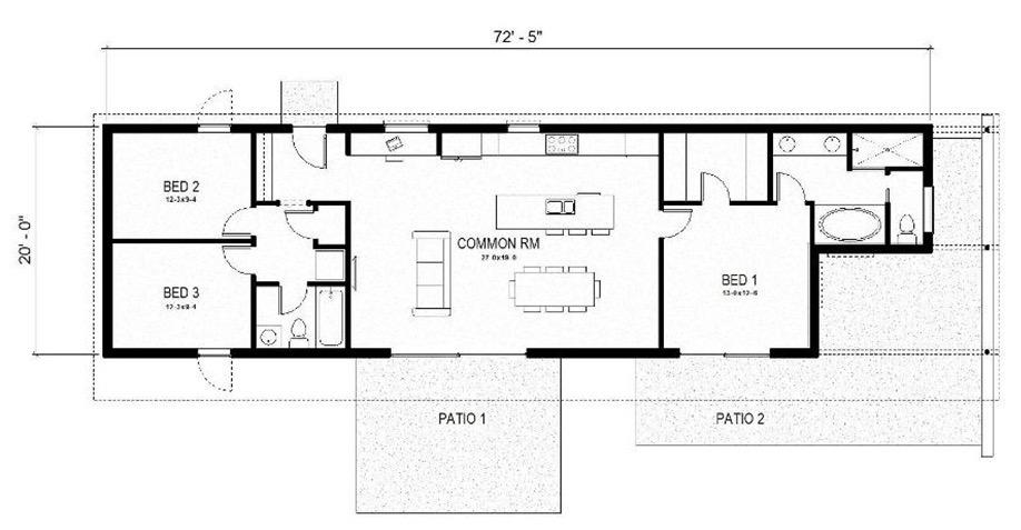 Plano de casa angosta con 3 dormitorios y 2 pisos 126m2 for Casas estrechas y alargadas