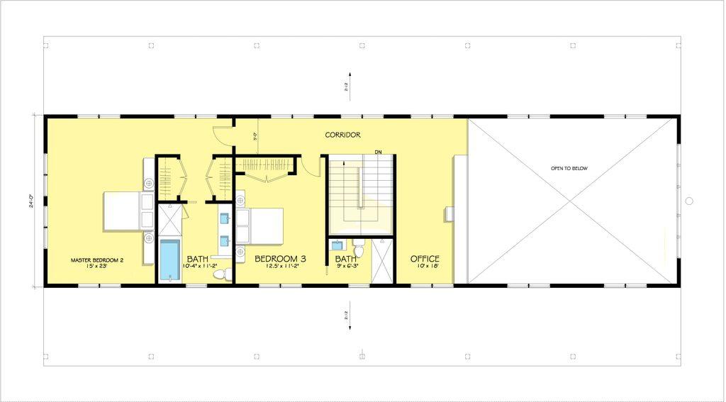 Plano de casa grande para sitio angosto de 2 pisos for Planos para segundo piso