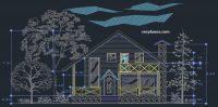 fachada plano de casa descargar cad